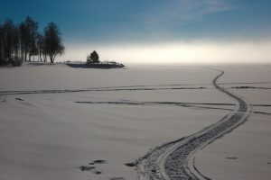 snowmobile tracks in snow