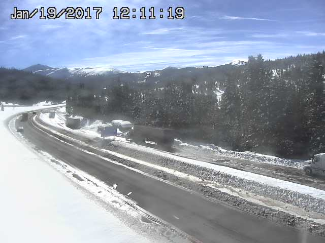 I70 on Vail pass looks snowpacked and slippery.
